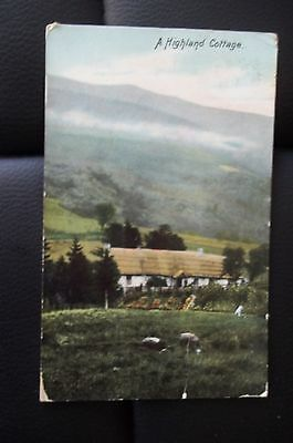 """Rare 1907  19 July  Bacup Dated  """" A Highland Cottage  """"  Used Postcard"""