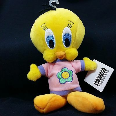 1998 Warner Bros Looney Tunes Tweety Bird Flower Shirt Plush Stuffed Doll Bean