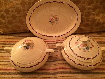 Two Vintage Clarice Cliff Vegetable Dishes & Serving Dish 'arras'