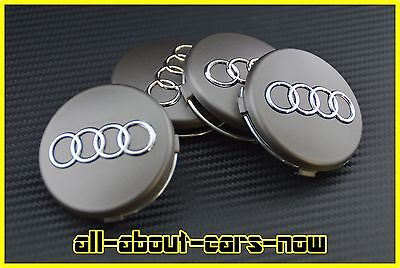 4x audi 60mm nabenkappen nabendeckel felgendeckel grau. Black Bedroom Furniture Sets. Home Design Ideas