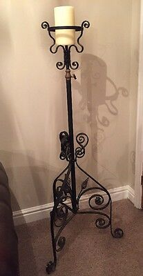 Antique Church Wrought Iron Candle Stick Holder Flower Stand-Brass Adjustable