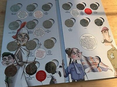 Royal mint official coin hunt 50p collection album 1st edition Complete + Medal
