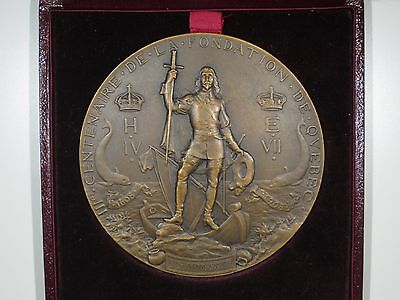 Rare 300th Anniversary of the Founding of Quebec Medal by Dubois w/ Original Box