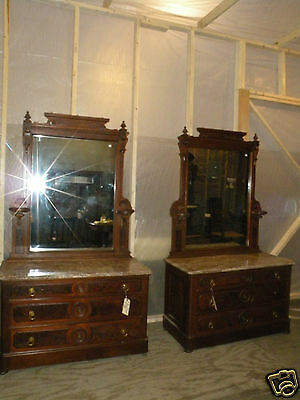 Pair of Antique Marble Top Victorian Bedroom Dressers