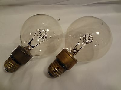 antique light bulbs,pair heavy coiled carbon filament tipped thermolite working