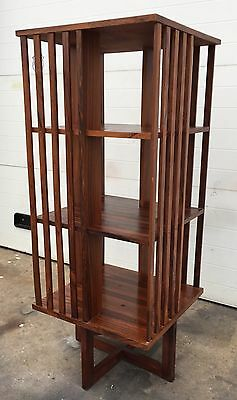 Mid Century Modern Rosewood Revolving Bookcase Vintage