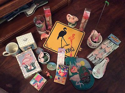 Vintage Collection of  Flamingos over 20 items flamingo crossing sign ceramic et