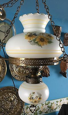 """White w/Yellow Floral Brass Double Globe Hanging Hurricane Ceiling Light 21""""x14"""""""