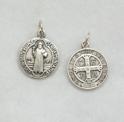 Saint Benedict Round Medal Pendant, 18mm Silver Oxide, Made In Italy Quality