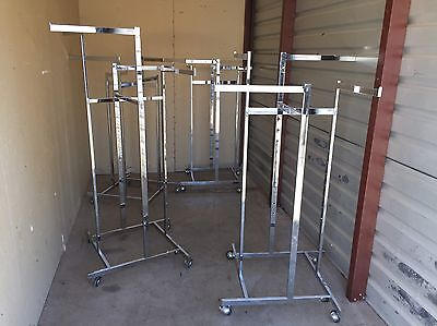 Chrome Adjustable Commercial Retail Clothing Racks, 4 Armed
