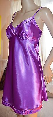 VTG Purple wet look silky satin chemise full slip uk 14-16