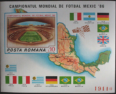 Romania 1986 Football World Cup Miniature Sheet from Restricted Printing MNH/UM