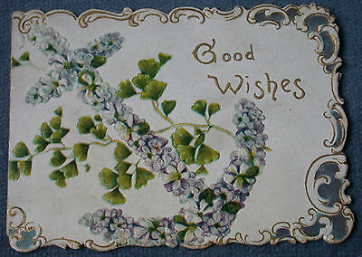 Antique Anchor Floral Design Christmas Folded Greetings Old Card