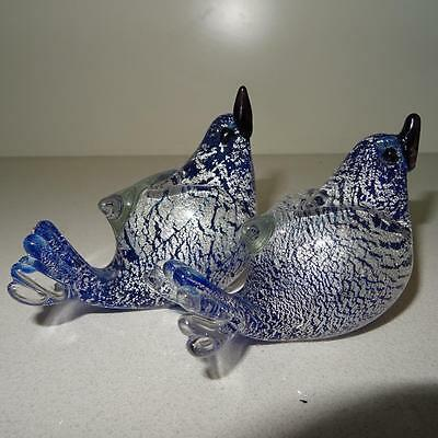 2 Vintage Crystal Glass Fantail Birds - Blue & Silver Tonings - Germany