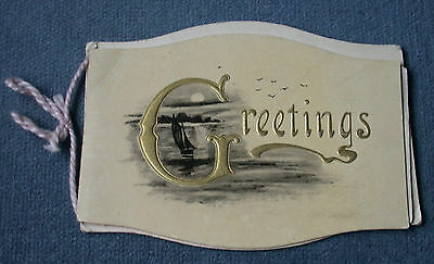 Antique Christmas Greetings Card Yacht Boat Illustration Unusual Shape Moonlight