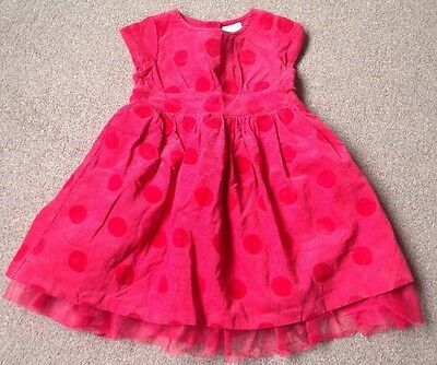 ***Stunning Next Red Spotty Corduroy Velvet Dress Size 12-18 Months