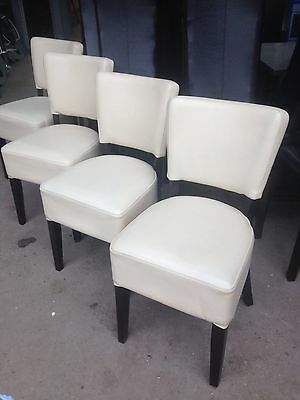 10 X Restaurant/cafe/bistro Chairs Cream Faux Leather Wood Legs