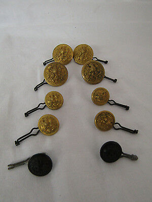 Military Buttons 8 Brass Marked Hilborn Hamburger Inc. 2 Plastic Unmarked(#4373