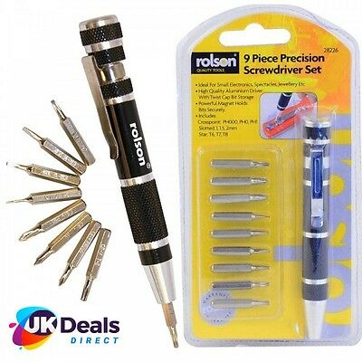 Rolson 9 in 1 Precision Screwdriver Magnet Bit Set - Twist Cap Storage 28226