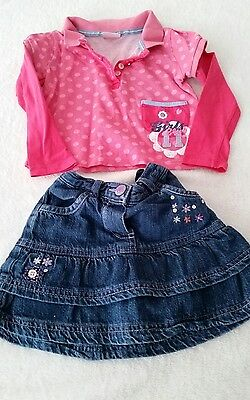 ♡Baby Girls 18-24mths Denim Skirt & Top♡