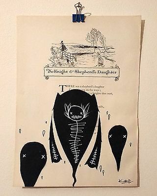 """Hand drawn on vintage paper """"The Knight & Shepherd's Daughter"""" by Korp"""