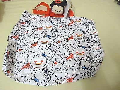 Disney Store Tsum Tsum Minnie Roll-Up Shopping tote Bag Donald Chip Dale new