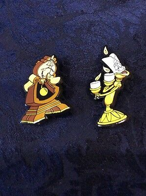 Beauty And The Beast 2 Pin Badges Disney Lumbered Cogsworth