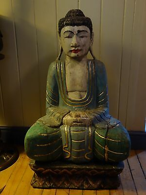 Large Carved Polychromed Buddha  80 Cms High