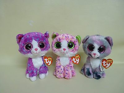 """Ty Beanie Boo Cat Lindi 17/5 Charlotte 10/4 Sophie 13/1 Kittens 6"""" lot of 3 new"""