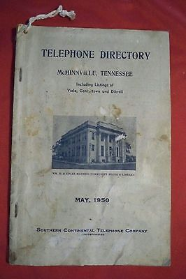 1950 McMINNVILLE VIOLA CENTERTOWN TENNESSEE TELEPHONE DIRECTORY TN ADVERTISING
