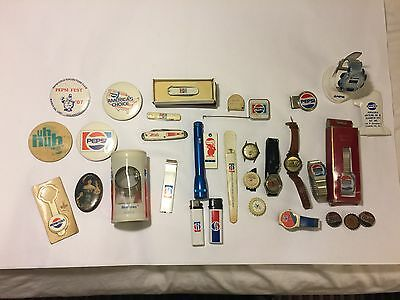 Large Lot of Vintage Pepsi Cola Advertising Buttons Watches Ruler Pocket Knives