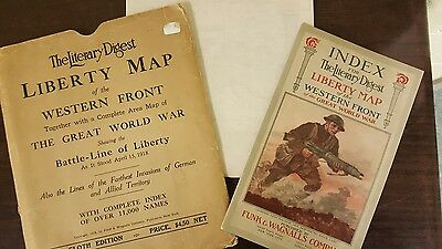 WW1 Literary Digest Liberty Cloth Map of the Western Front 1918 Rare Color Wall