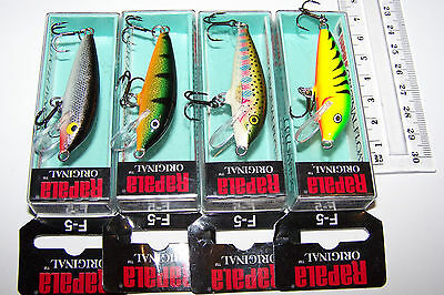 RAPALA FISHING LURES LOT OF 4,  F-5  ORIGINAL FLOATING MINNOW.   Trout, Bass.