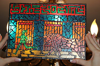Vintage Spain Running Of The Bulls Stained Glass Window-Small-Man Chased By Bull