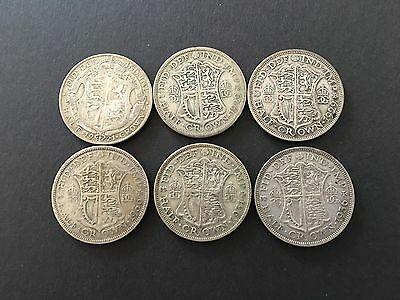 UK - 1/2 crown set 1921-1936 x 6 ,KGV ,Silver COINS