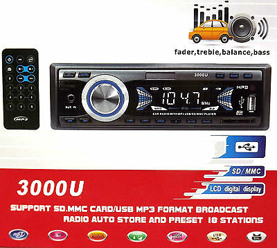 Car Radio MP3 Player SD MMC USB Auto Store and 18 Preset Stations with Remote