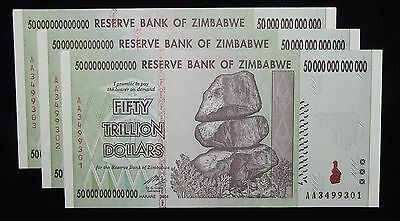 Three Zimbabwe 50 Trillion Dollar Currency Notes – Uncirculated