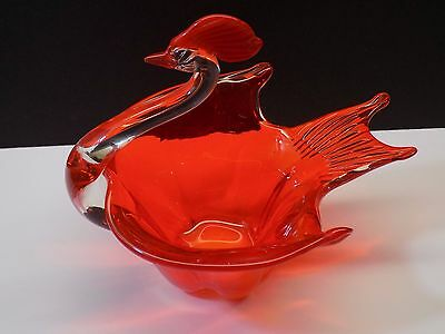 Mid Century Vintage Murano Art Glass Phoenix Bird of Paradise Sculpture Bowl