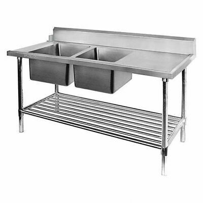 Dishwasher Inlet Table w Double Bowl Sink & Pot Shelf, 2400mm, Left, Commercial