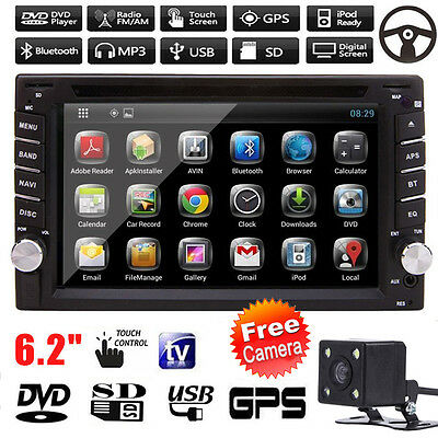 GPS Navigation Double 2 DIN Car Stereo DVD Player Bluetooth iPod MP3 FM +Camera