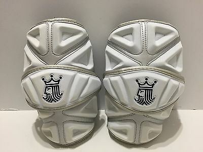 Brine King 4 Lacrosse Arm Pads, White, Medium Pair