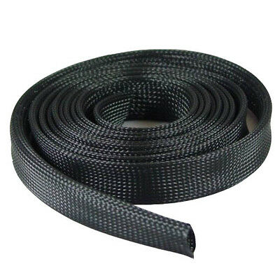 "Expandable Braided Cable Sleeve Sock Black 1/2""(12.7mm) x 100Ft (30.48m)"