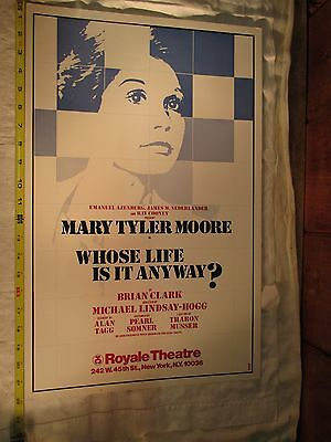 """Mary Tyler Moore Whose Life Is It Anyway? Poster 22""""x14"""" Royale Theatre Broadway"""