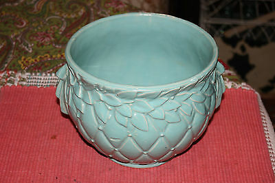 Vintage McCoy Pottery Jardiniere Quilted Planter-Sea Glass Green Color-Lovely