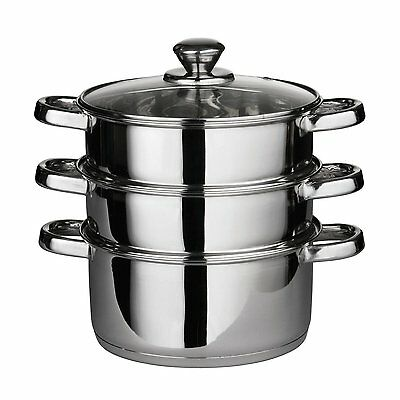 3 Tier Stainless Steel Steamer Set 24cm Steam Cooker Kitchen Pots Casserole Dish