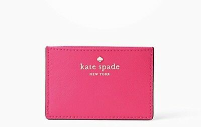 KATE SPADE Cedar Street Pink Confetti Card Case Holder NEW With Tag