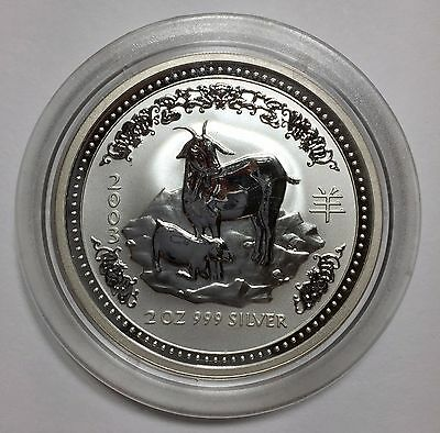 2003 Lunar Year of the Goat AUSTRALIA Two Dollars $2 Silver 2 oz. in Capsule