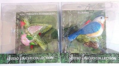 STUDIO ELUCEO COLLECTION Bluebird Ruby Throated Humming Bird Christmas Ornament