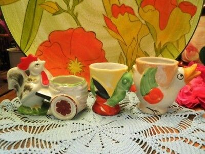 Vintage Egg Cups X3 Rooster Chick Duck Japan Childs Easter Egg Cup Novelty 195O