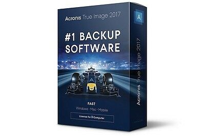 #1 Backup Software -  Acronis True Image 2017 3 Computers For Win/Mac/Mobile